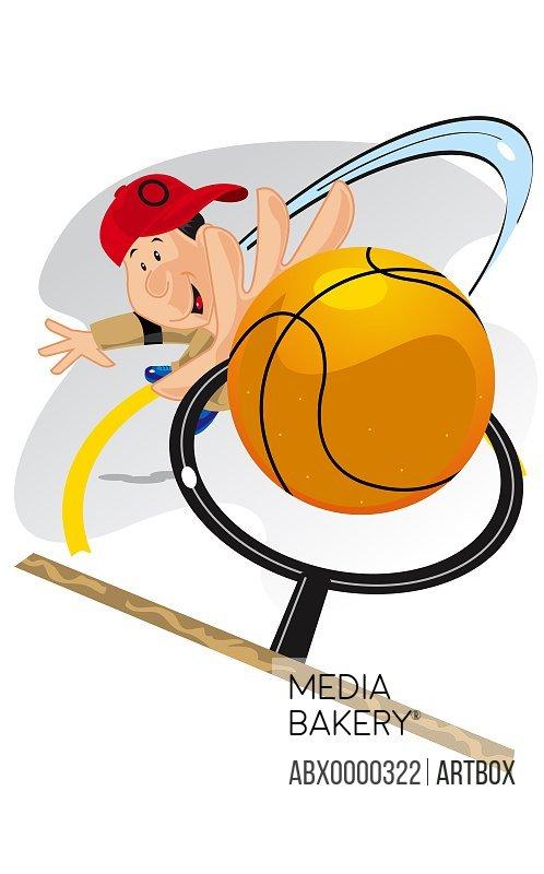 High angle view of a boy playing basketball