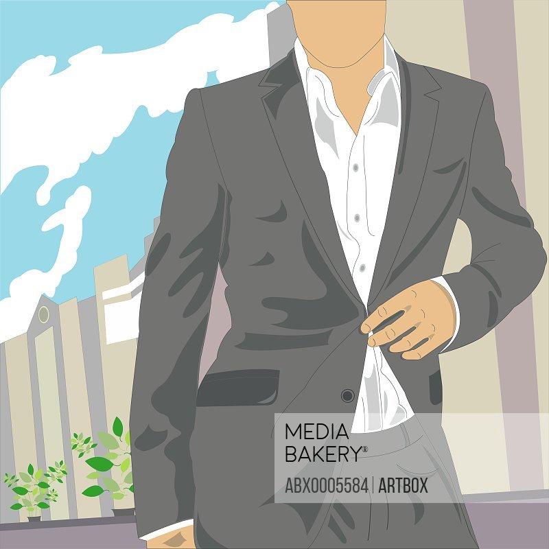Businessman unbuttoning his coat