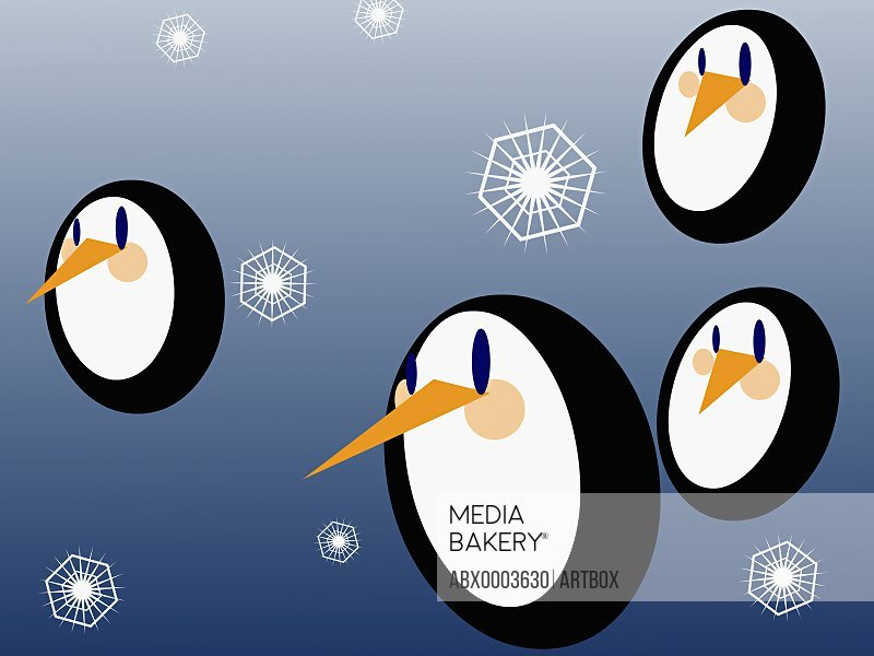 Four penguins with snowflakes