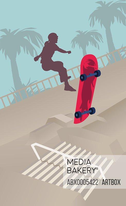 Silhouette of a woman skateboarding