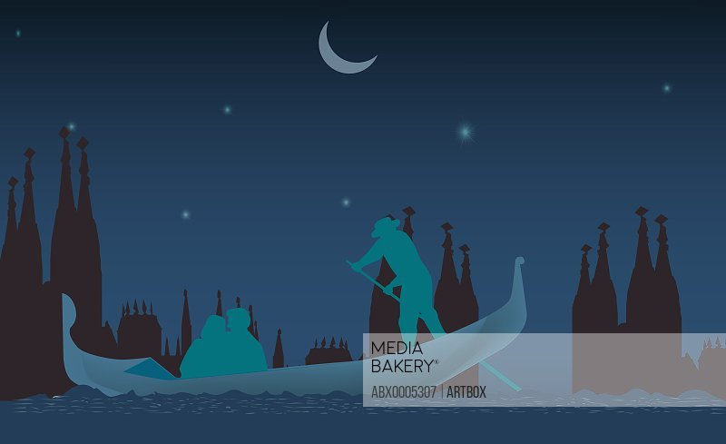 Silhouette of three people on a gondola at night