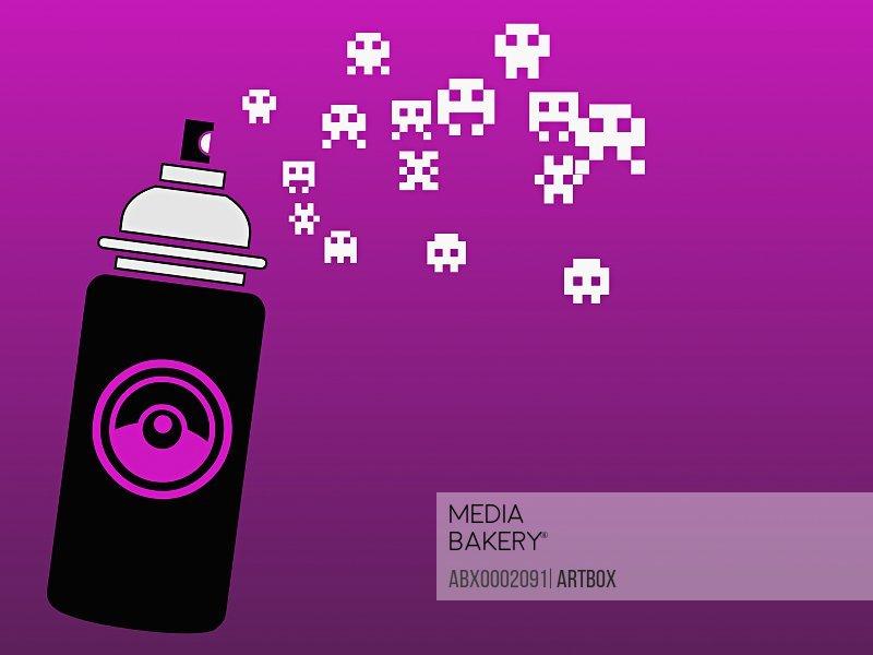 Perfume bottle on a purple background