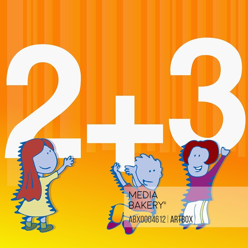 Two girls and a boy playing with mathematical numbers
