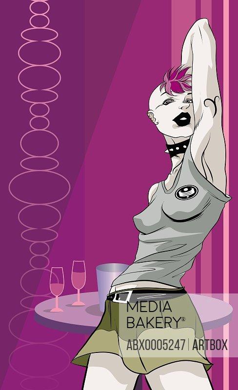 Woman dancing in a bar