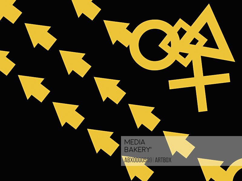 Mathematical symbols on a black background