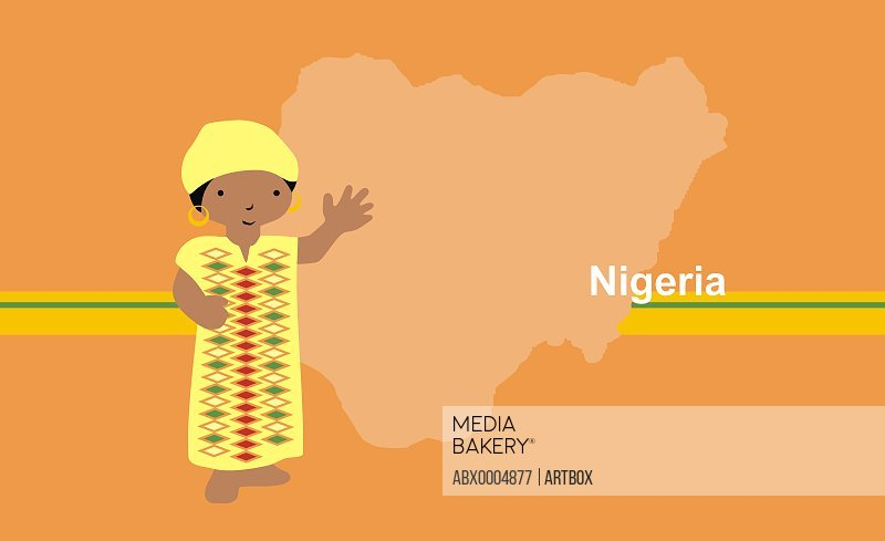 Girl in traditional clothing near map of Nigeria