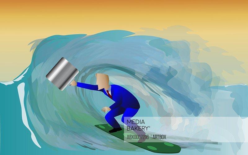 Businessman surfing on a surfboard