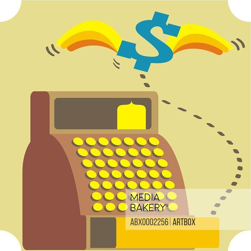 Dollar sign flying over a cash register
