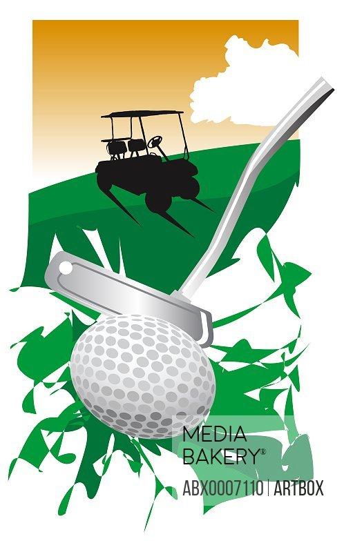 Golf club hitting a golf ball