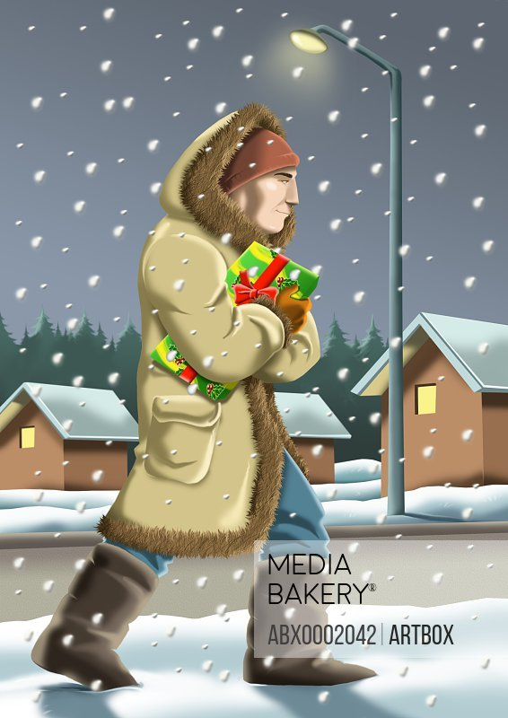 Man walking with a gift during snowfall