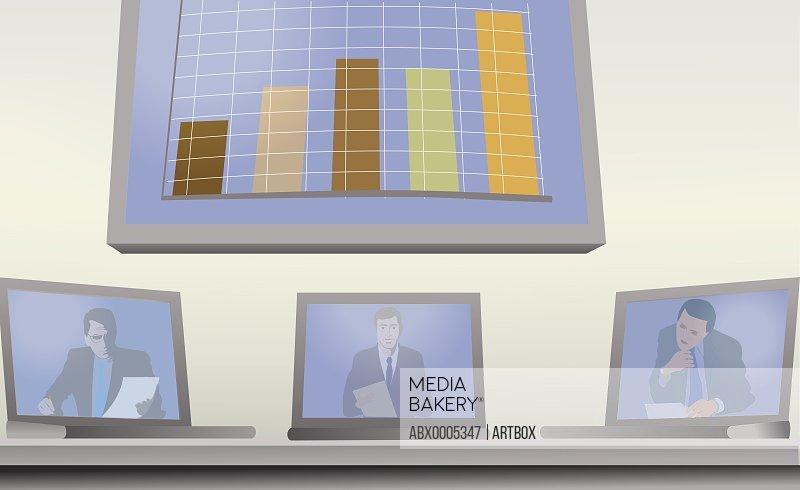 Three businessmen on laptop screens