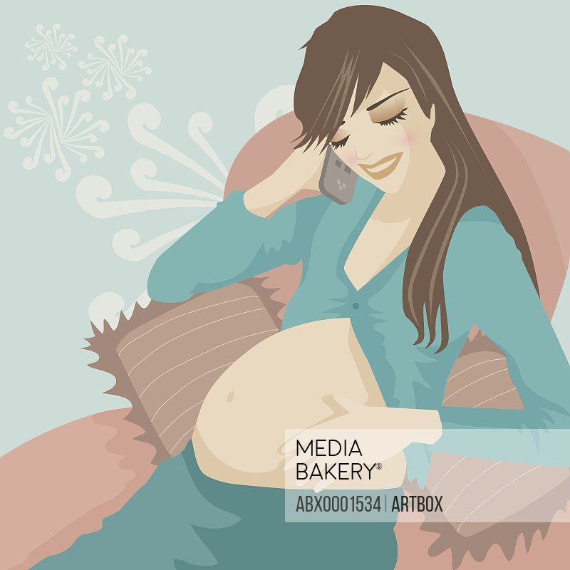 Pregnant woman talking on a mobile phone