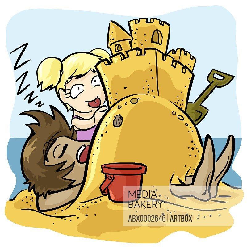 Girl building a sand castle on a man