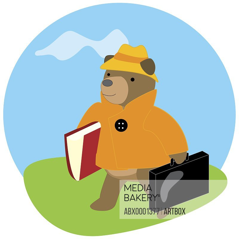 Bear carrying a briefcase and a file