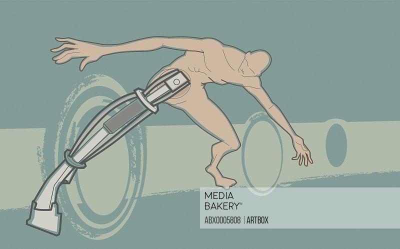 Naked man with prosthetic leg