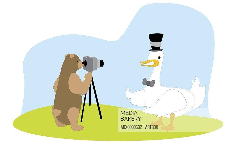 Bear taking a photograph of a duck