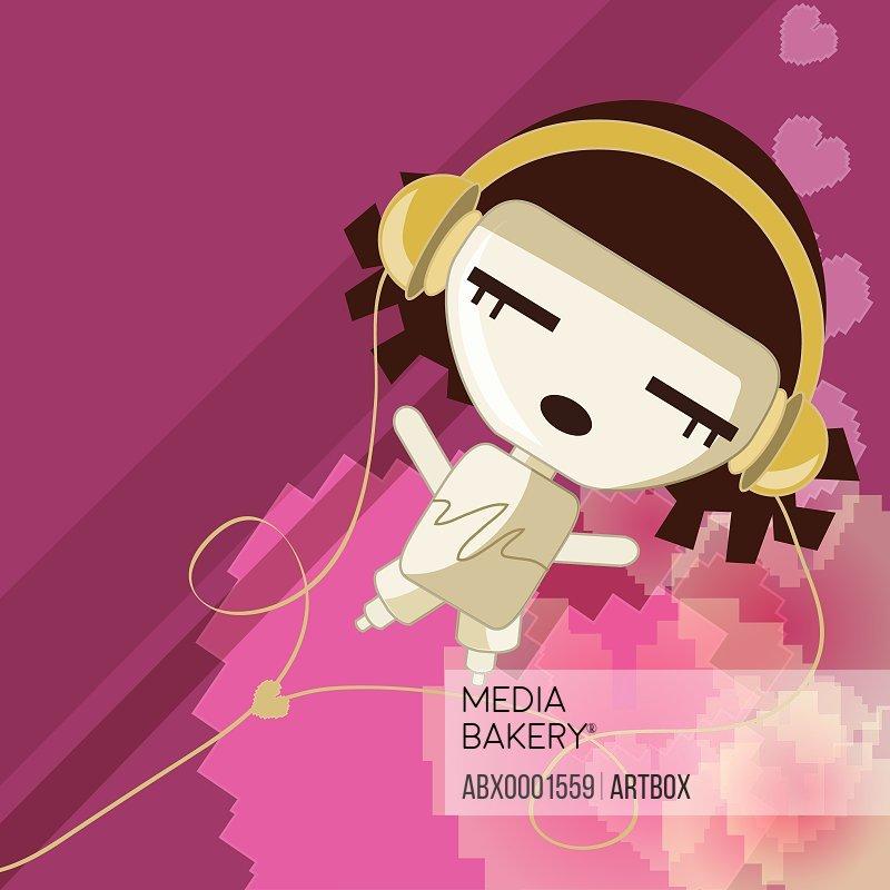 Girl wearing headphones listening to music