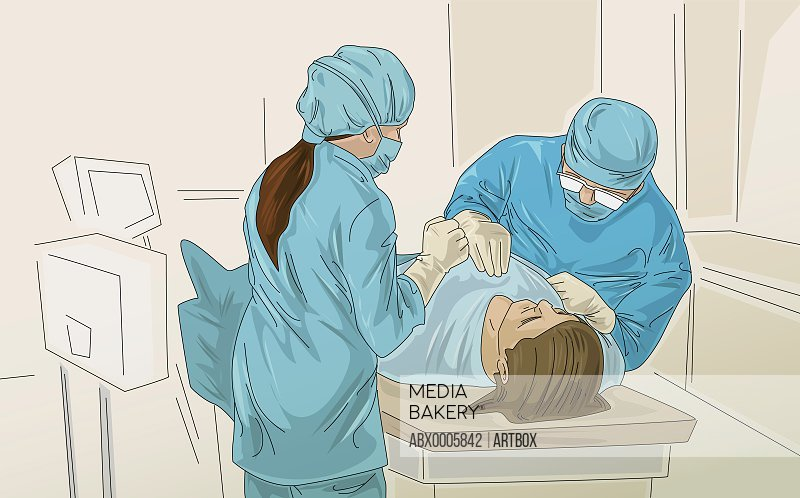 High angle view of two surgeon examining a patient