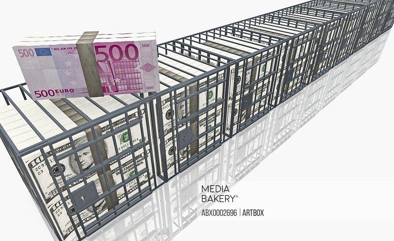 Bundle of five hundred euro banknotes