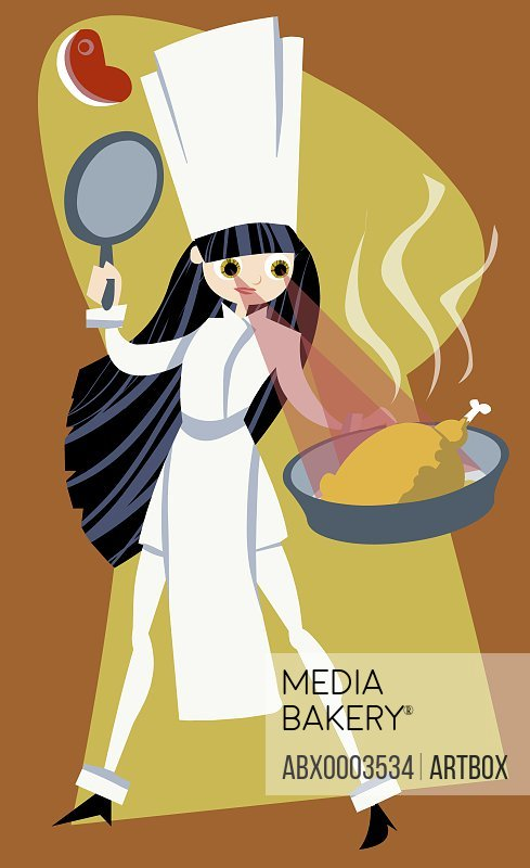 Close-up of a woman tossing food in a frying