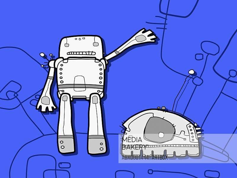 Two robots against a blue background
