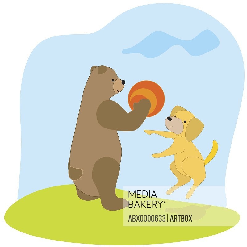 Bear and a dog playing with a ball