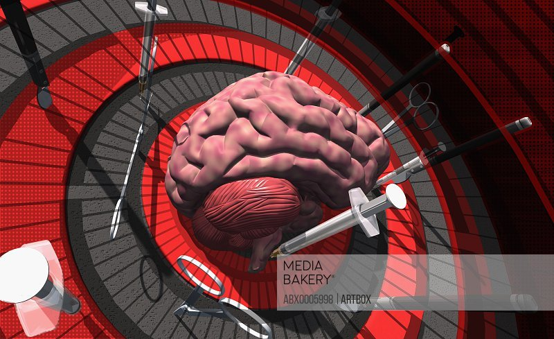 Human brain on a dartboard