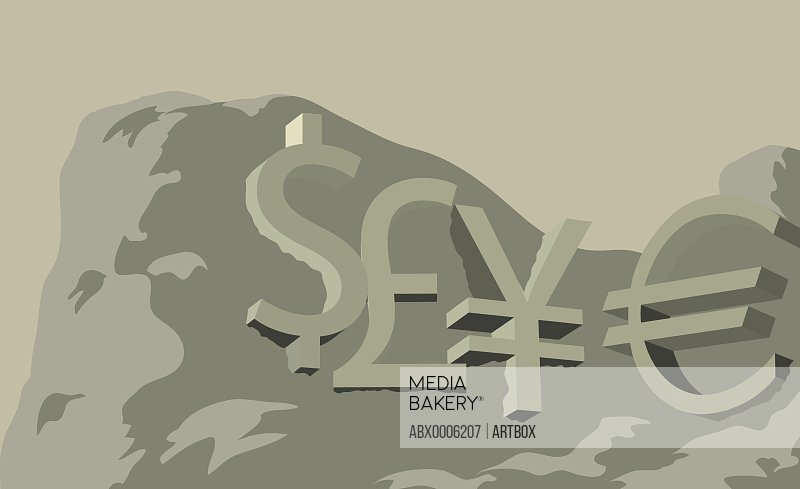 Low angle view of currency symbols on a mountain