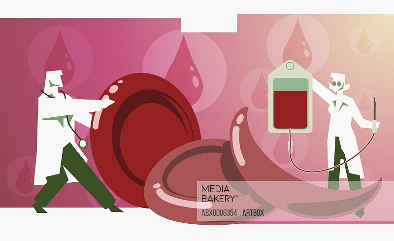 Male doctor holding a blood cell