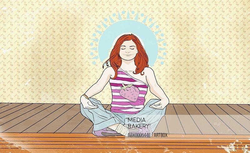 Woman meditating on a pier