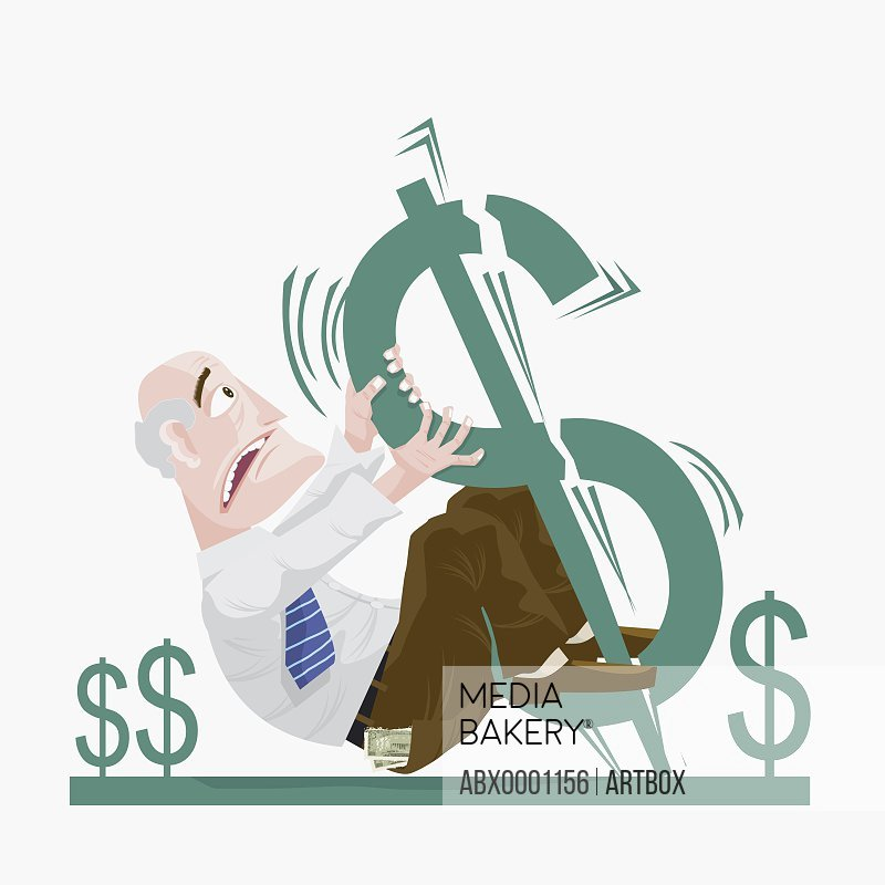 Businessman hanging by a dollar sign