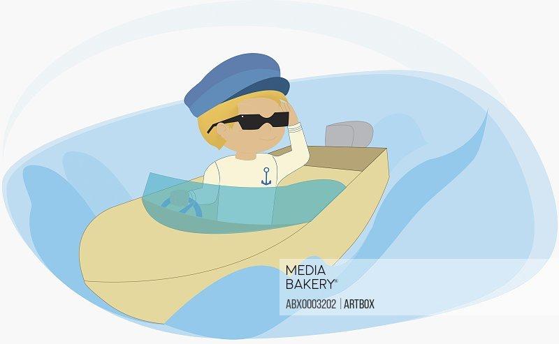 Boy motor boating