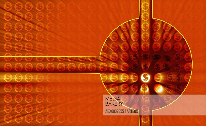 Dollar signs on a red abstract pattern