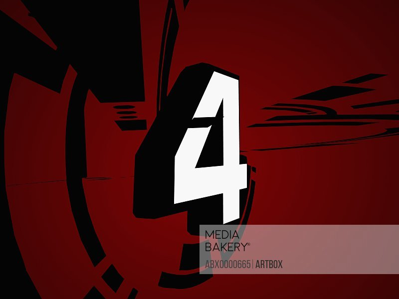 Number 4 on red background