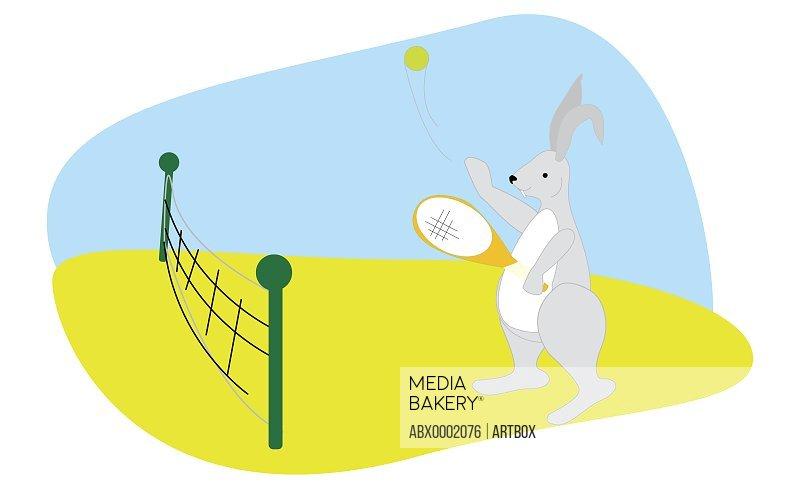 Rabbit playing tennis
