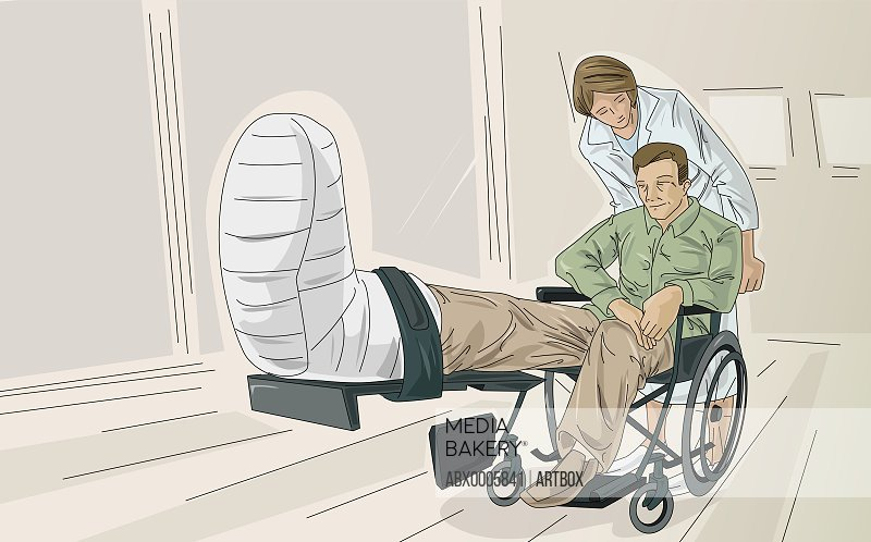 Nurse pushing patient with broken leg in wheelchair