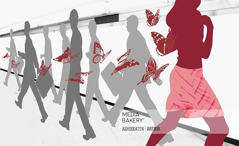 Men and women on a pedestrian walkway