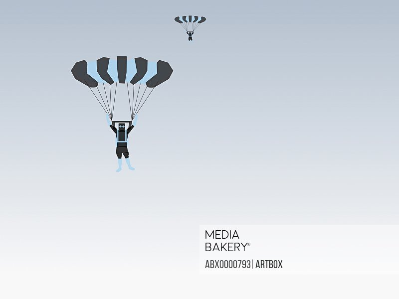 Low angle view of two people parachuting