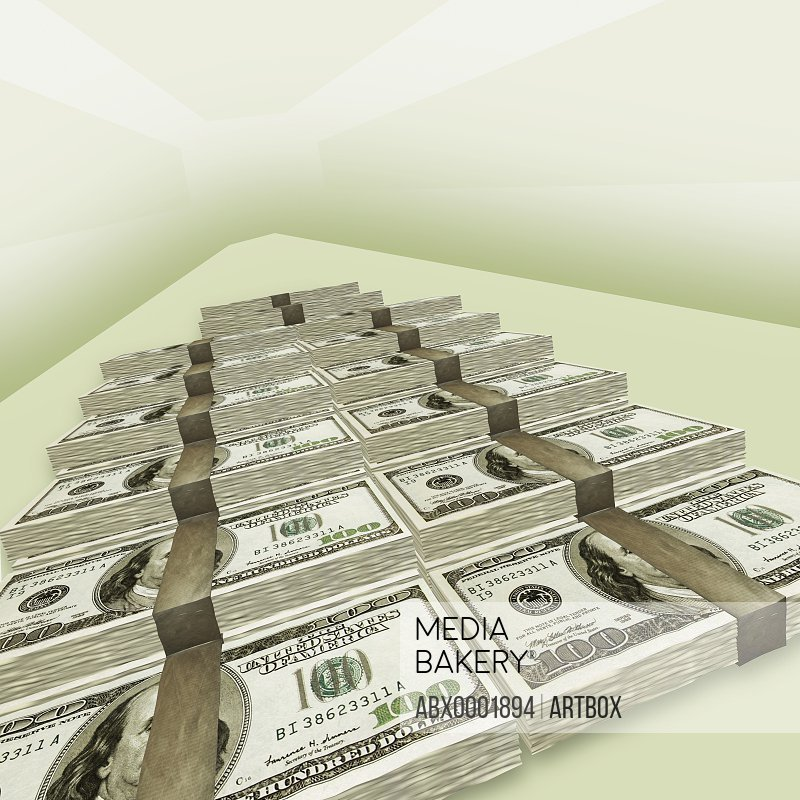 High angle view of the stack of US dollar bills