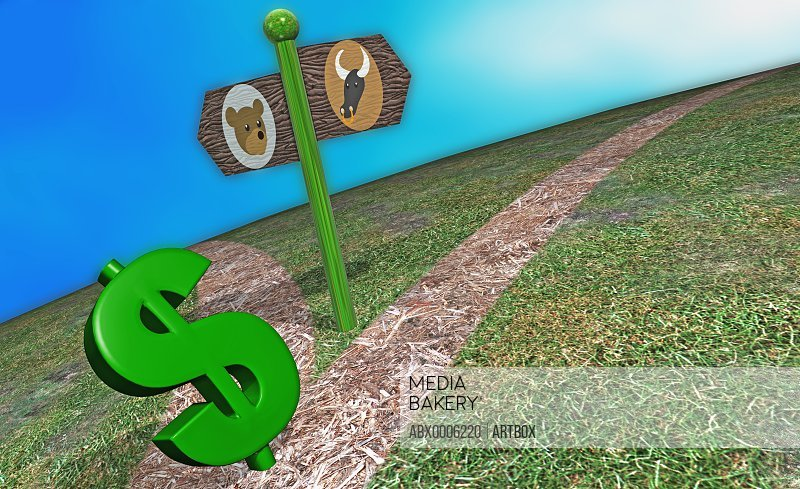 Close-up of a dollar sign near a directional sign