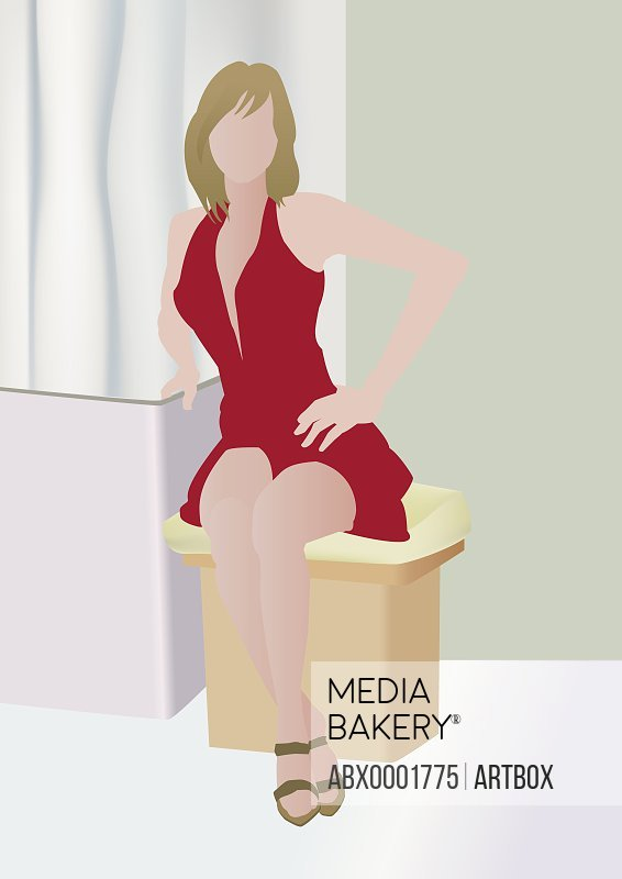 Woman sitting on a stool
