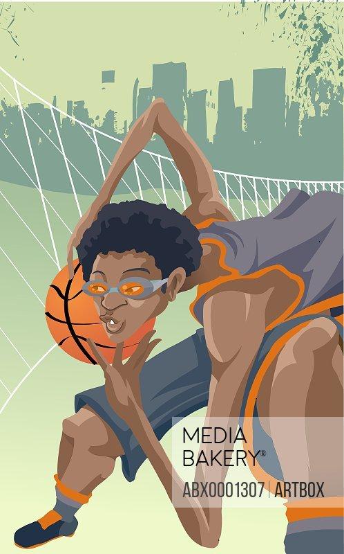 Basketball player holding a basketball