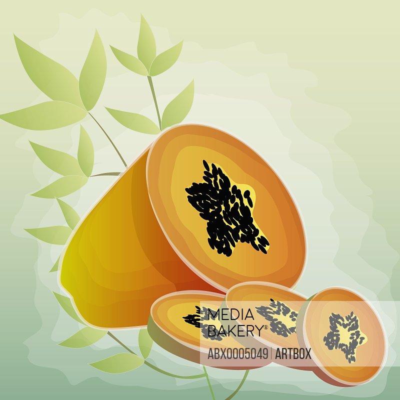 Close-up of papaya slices