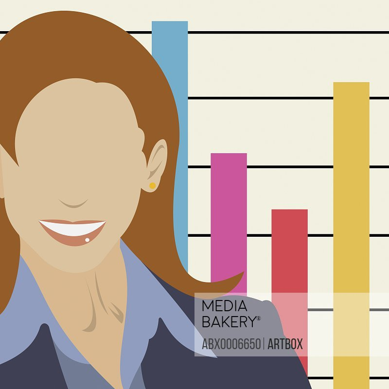 Businesswoman in front of a bar graph
