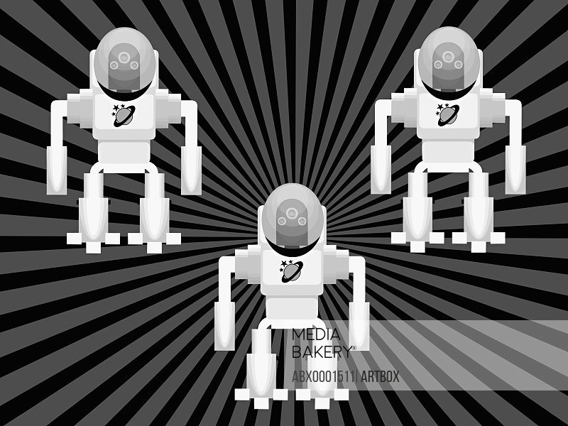 Three robots on a striped background