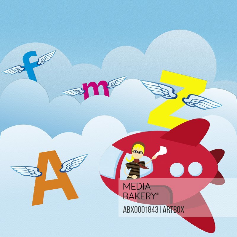 Alphabets and an airplane flying in the air