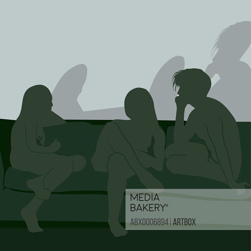 Silhouette of three people sitting on a couch