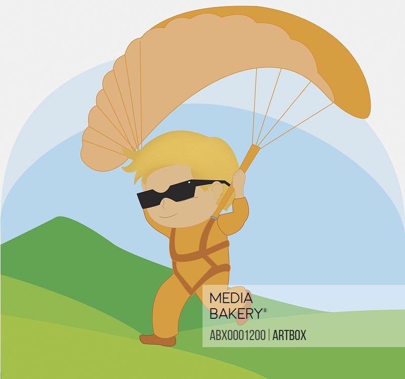 Boy parachuting