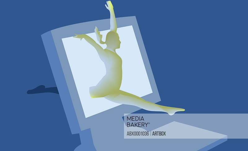 Woman leaping out of a computer screen