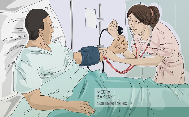 Female nurse taking a male patient's blood pressure